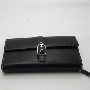 Coach Black Leather Womens Trifold Wallet